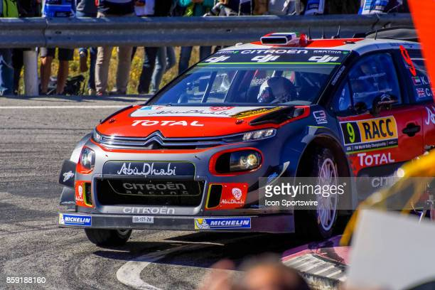 Kahlid Al Qassimi and codriver Chris Patterson of Citroën World Rally Team round the famous Riudecanyes roundabouts of the Rally de Espana round of...