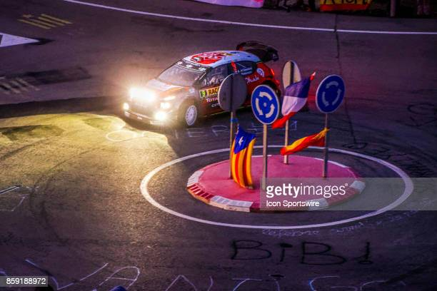 Kahlid Al Qassimi and codriver Chris Patterson of Citroën World Rally Team early morning run on the Riudecanyes Stage of the Rally de Espana round of...