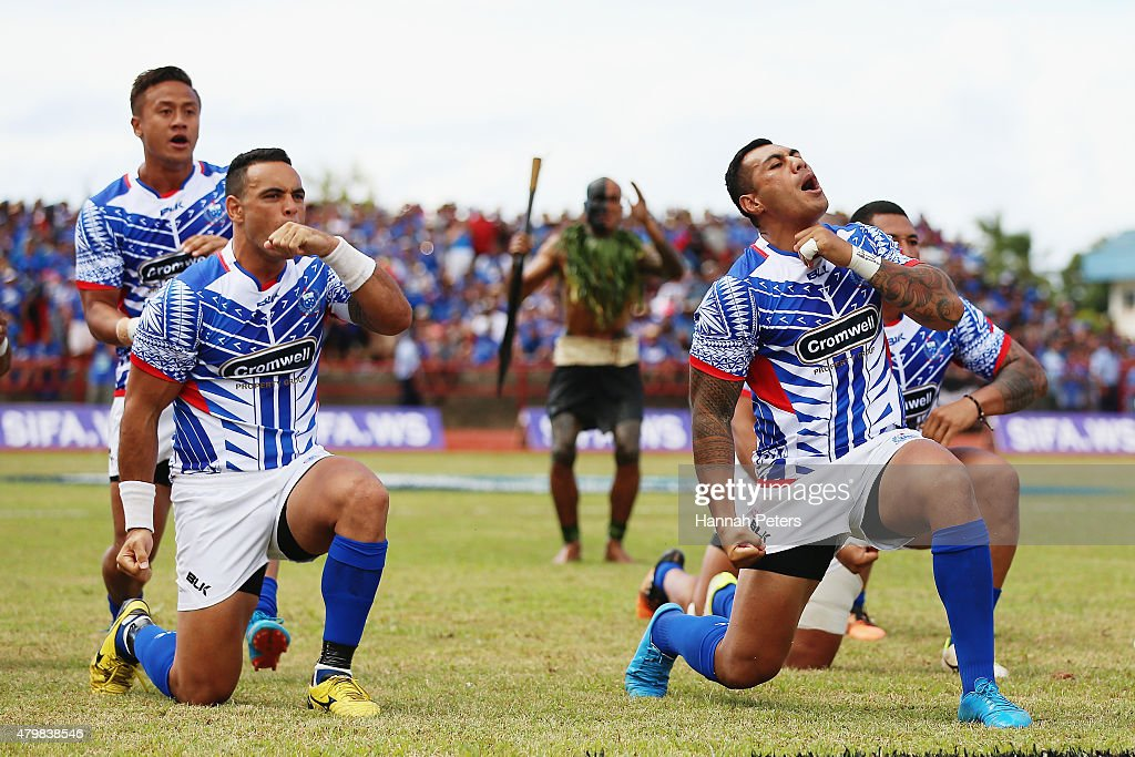 Kahn Fotualii of Manu Samoa and Tusi Pisi of Manu Samoa perform the haka prior to the International Test match between Samoa and the New Zealand All...