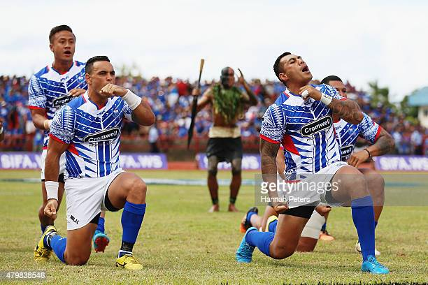 Kahn Fotualii of Manu Samoa and Tusi Pisi of Manu Samoa perform the haka prior to the International Test match between Samoa and the New Zealand All...