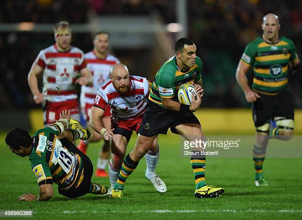 Kahn Fotuali'i of Northampton Saints in action during the Aviva Premiership match between Northampton Saints and Gloucester Rugby at Franklin's...