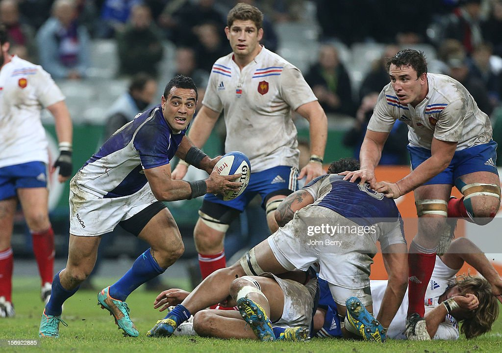 Kahn Fotuali'i of Samoa in action during the Rugby Autumn International between France and Samoa at the Stade de France on November 24, 2012 in Paris, France.