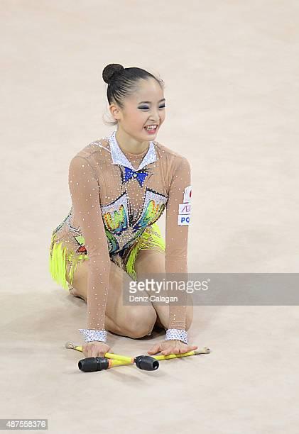 Kaho Minagawa of Japan competes during the 34th Rhythmic Gymastics World Championships on September 10 2015 in Stuttgart Germany