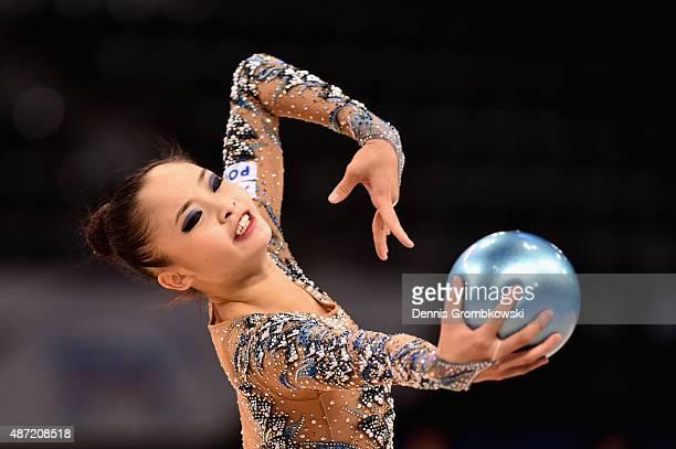 Kaho Minagawa of Japan competes during the 34th Rhythmic Gymnastics World Championships on September 7 2015 in Stuttgart Germany
