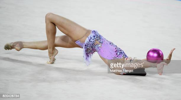 Kaho Minagawa of Japan competes during the Rhythmic Gymnastics Women's Individual Ball Qualification of The World Games at Centennial Hall on July 21...