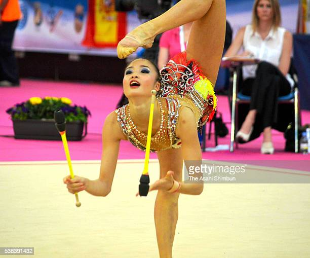 Kaho Minagawa of Japan competes in the Clubs on day three of the Rhythmic Gymnastics World Cup Guadalajara at Pabellon Multiusos Guadalajara on June...