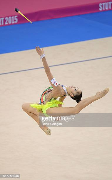 Kaho Minagawa of Japan competes with clubs during the 34th Rhythmic Gymnastics World Championships 2015 on September 11 2015 in Stuttgart Germany