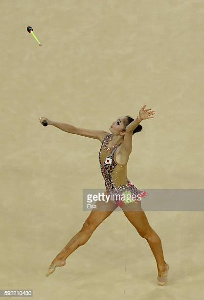 Kaho Minagawa of Japan performs her club routine during the Rhythmic Gymnastics Individual AllAround on August 19 2016 at Rio Olympic Arena in Rio de...