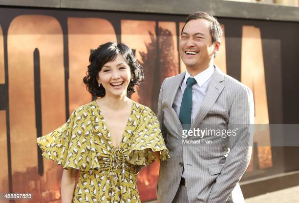 Kaho Minami and Ken Watanabe arrive at the Los Angeles premiere of 'Godzilla' held at Dolby Theatre on May 8 2014 in Hollywood California