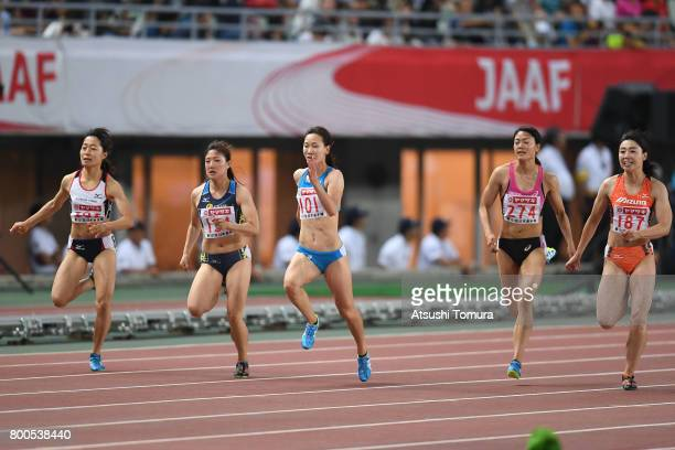 Kaho Nishio Nodoka Seko Chisato Fukushima Mizuki Nakamura and Kana Ichikawa of Japan compete in the Women 100m final during the 101st Japan National...