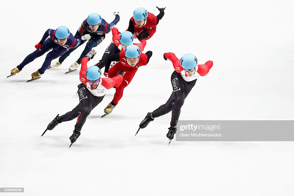 Kai An of China, Yoon-Gy Kwak of South Korea, Alexander Fathoullin of Canada, <a gi-track='captionPersonalityLinkClicked' href=/galleries/search?phrase=Charle+Cournoyer&family=editorial&specificpeople=11622477 ng-click='$event.stopPropagation()'>Charle Cournoyer</a> of Canada and <a gi-track='captionPersonalityLinkClicked' href=/galleries/search?phrase=Francois+Hamelin&family=editorial&specificpeople=4863975 ng-click='$event.stopPropagation()'>Francois Hamelin</a> of Canada compete in the Mens 1500m Final during ISU Short Track Speed Skating World Cup held at The Sportboulevard on February 13, 2016 in Dordrecht, Netherlands.