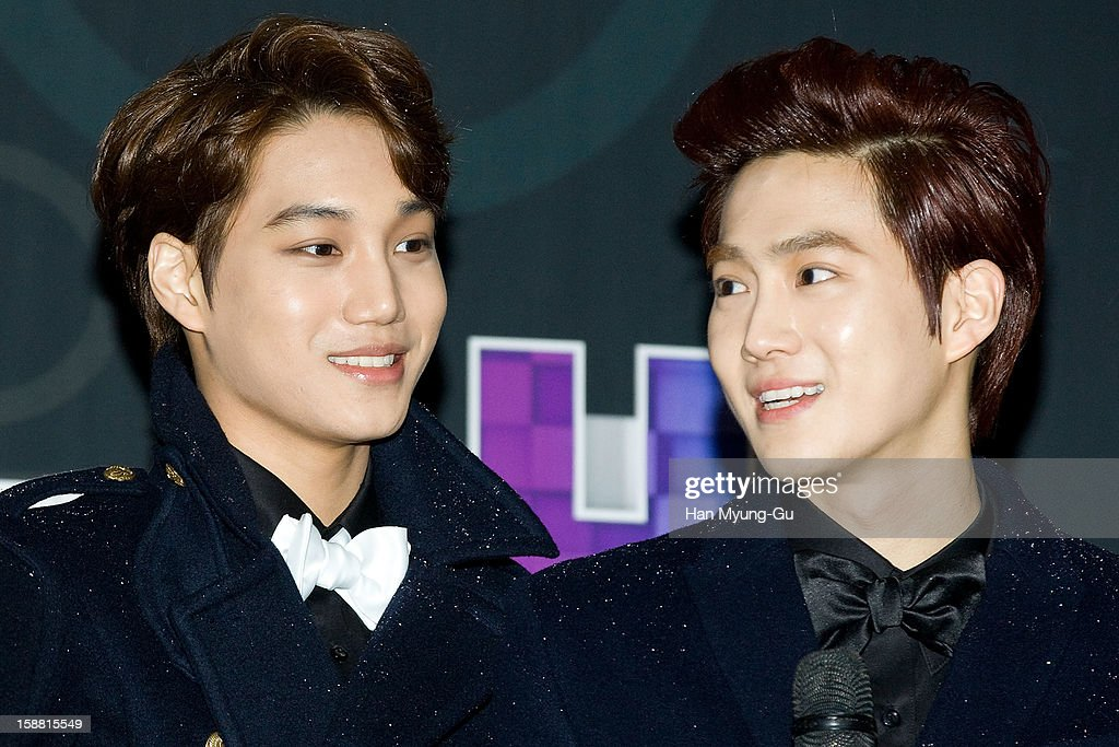 Kai and Su Ho of boy band EXO-K arrive at the 2012 SBS Korea Pop Music Festival named 'The Color Of K-Pop' at Korea University on December 29, 2012 in Seoul, South Korea.