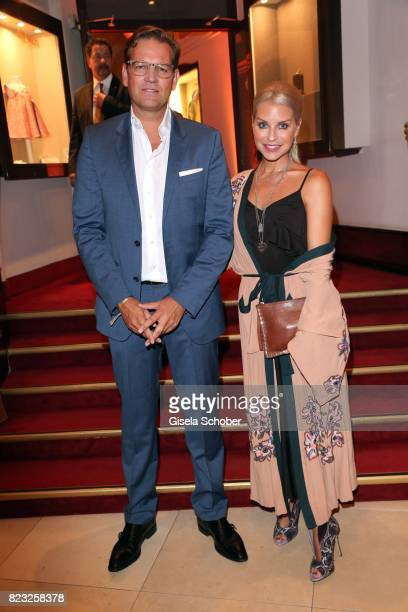 Kai Boecking and Nina Heyd jewellery designer and owner of Heart of Capulet during the Hotel Vier Jahreszeiten summer party 'Eclat Dore' on July 26...