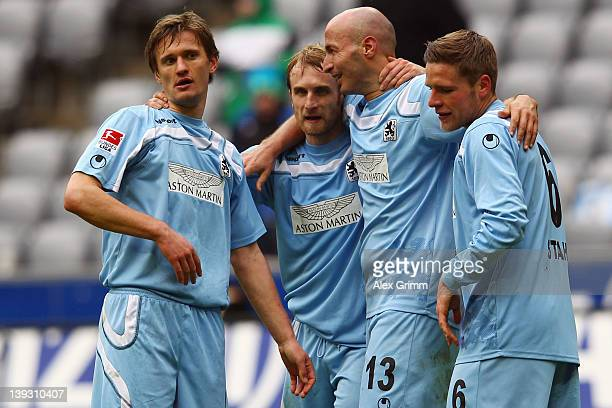 Kai Buelow Daniel Bierofka Necat Ayguen and Dominik Stahl of Muenchen celebrate after the Second Bundesliga match between 1860 Muenchen and Fortuna...