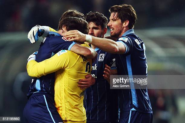 Kai Buelow goalkeeper Stefan Ortega Christopher Schindler and Jan Mauersberger of 1860 Muenchen celebrate after the Second Bundesliga match between 1...