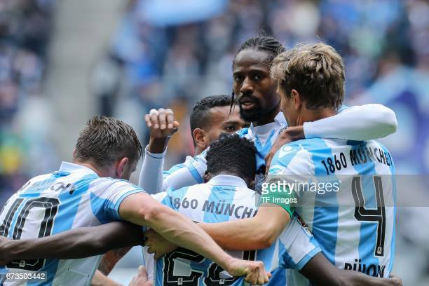 Kai Buelow of 1860 Munich celebrates after scoring his team`s first goal during the Second Bundesliga match between TSV 1860 Muenchen and SV...