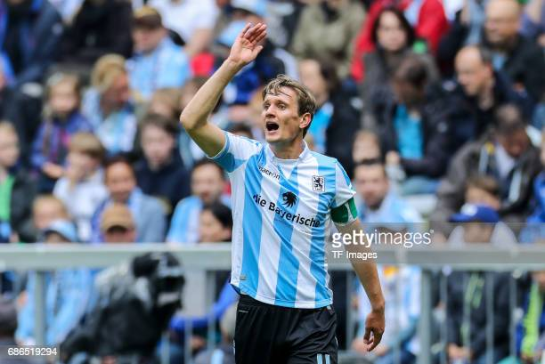Kai Buelow of 1860 Munich gestures during the Second Bundesliga match between TSV 1860 Muenchen and VfL Bochum at Allianz Arena on May 14 2017 in...