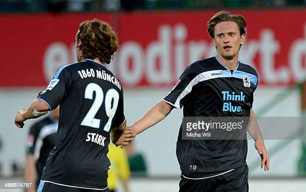 Kai Buelow of Muenchen high fives Yannick Stark of Muenchen after scoring his team's second goal during the Second Bundesliga match between Greuther...