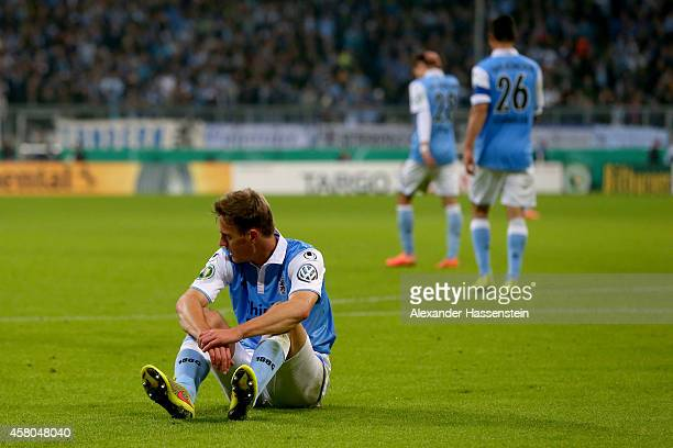 Kai Buelow of Muenchen reacts during the DFB Cup second round match between 1860 Muenchen and SC Freiburg at Allianz Arena on October 29 2014 in...