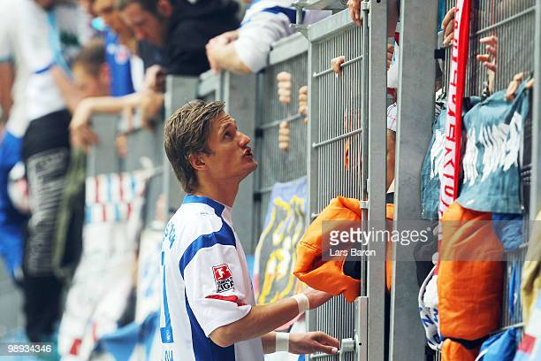 Kai Buelow of Rostock talks to the fans during the Second Bundesliga match between Fortuna Duesseldorf and FC Hansa Rostock at Esprit Arena on May 9...