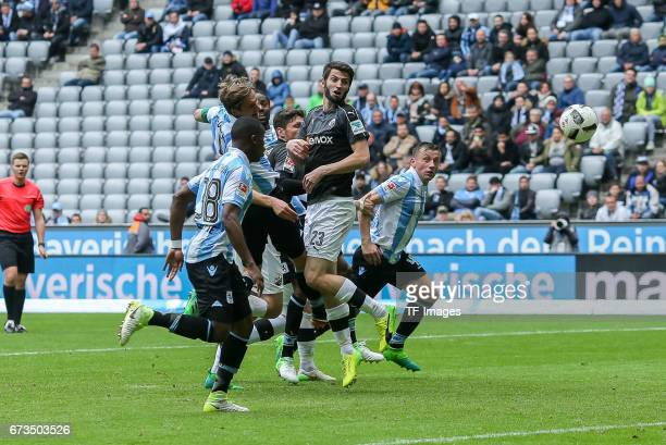 Kai Buelow scors a goal of 1860 Munich during the Second Bundesliga match between TSV 1860 Muenchen and SV Sandhausen at Allianz Arena on April 16...