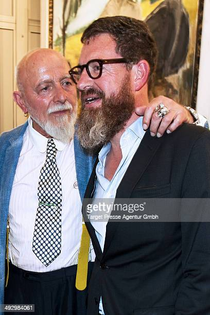Kai Diekmann and Markus Luepertz attend his vernissage 'Das Grundgesetz' at PaulLoebeHaus on May 22 2014 in Berlin Germany