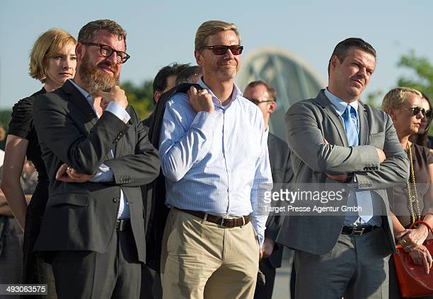 Kai Diekmann Guido Westerwelle and Alain Midzic attend the vernissage 'Das Grundgesetz' of Markus Luepertz at PaulLoebeHaus on May 22 2014 in Berlin...