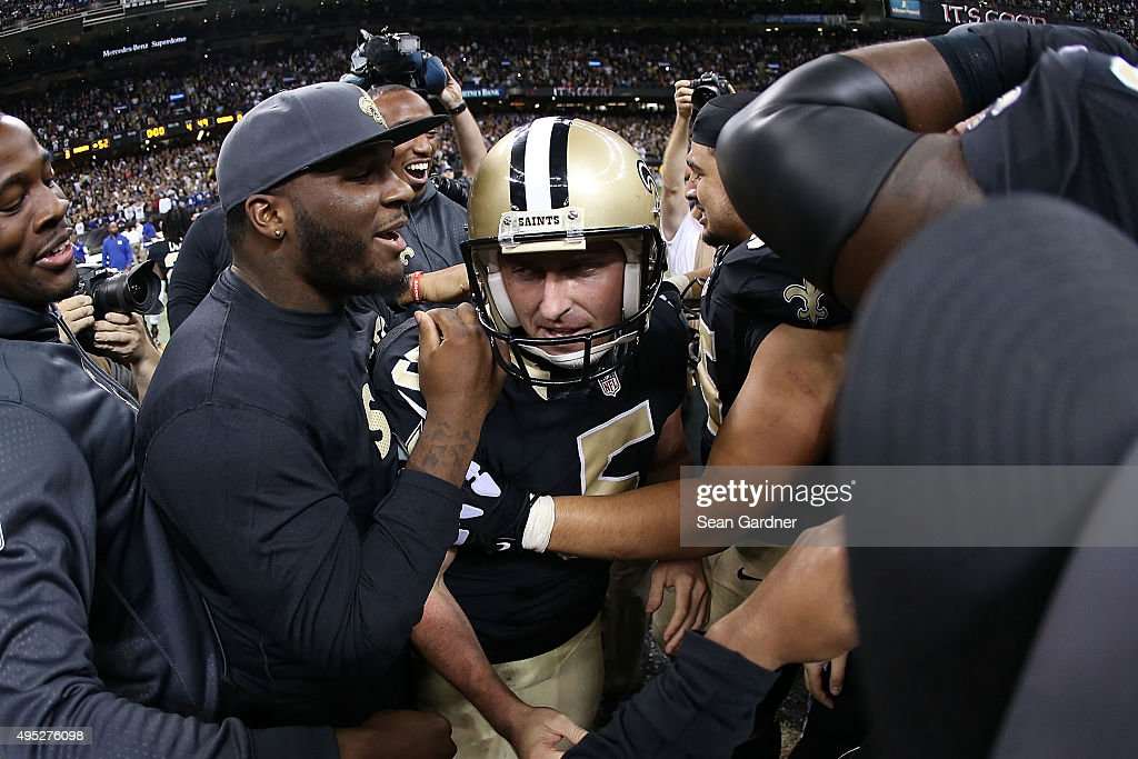 Kai Forbath #5 of the New Orleans Saints celebrates with teammates following a game winning field goal against the New York Giants at the Mercedes-Benz Superdome on November 1, 2015 in New Orleans, Louisiana.