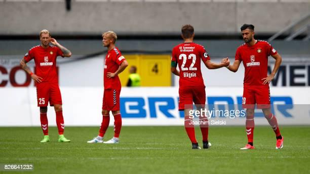 Kai Gehring Michael Vitzthum Daniel Haegele and Oezguer Oezdemir of Sonnenhof Grossaspach after the 3 Liga match between SC Paderborn 07 and SG...