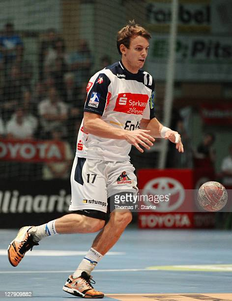 Kai Haefner of BalingenWeilstetten runs with the ball during the Toyota Handball Bundesliga match between MT Melsungen and HBW BalingenWeilstetten at...