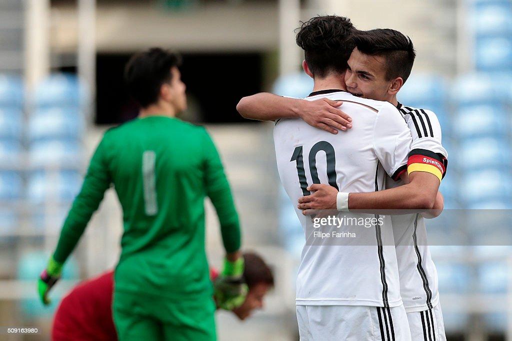 Kai Havertz and Atakan Akkaynak of Germany celebrate a goal during the UEFA Under17 match between U17 Portugal v U17 Germany on February 9, 2016 in Estádio Algarve, Loulé, Portugal.