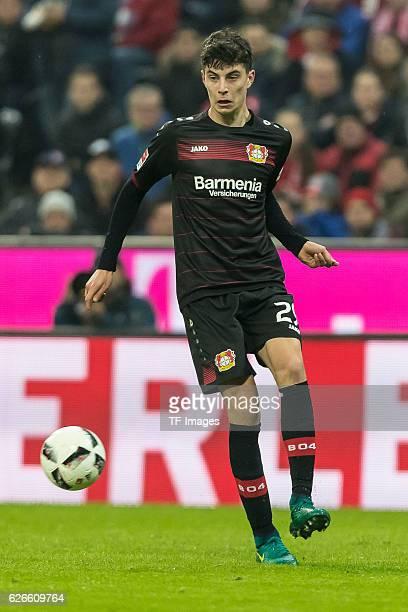 Kai Havertz of Bayer 04 Leverkusen in action during the Bundesliga match between FC Bayern Muenchen and Bayer 04 Leverkusen at Allianz Arena on...