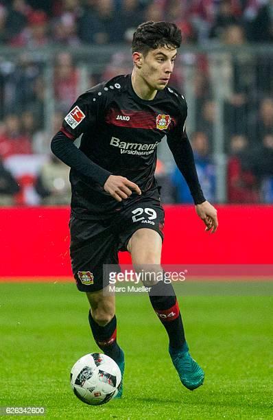 Kai Havertz of Bayer 04 Leverkusen with ball during the Bundesliga match between Bayern Muenchen and Bayer 04 Leverkusen at Allianz Arena on November...