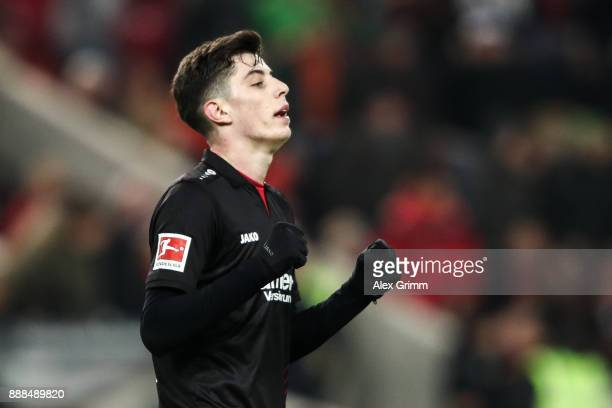 Kai Havertz of Bayer Leverkusen celebrates after winning the Bundesliga match between VfB Stuttgart and Bayer 04 Leverkusen at MercedesBenz Arena on...