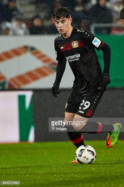 Kai Havertz of Bayer Leverkusen controls the ball during the Bundesliga match between FC Augsburg and Bayer 04 Leverkusen at WWK Arena on February 17...