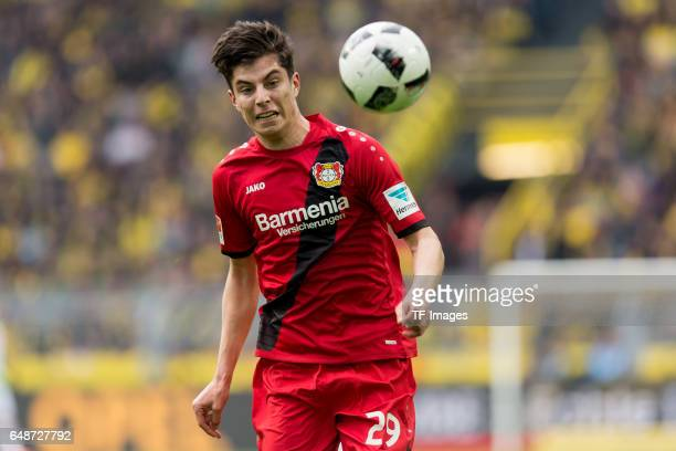Kai Havertz of Bayer Leverkusen controls the ball during the Bundesliga match between Borussia Dortmund and Bayer 04 Leverkusen at Signal Iduna Park...