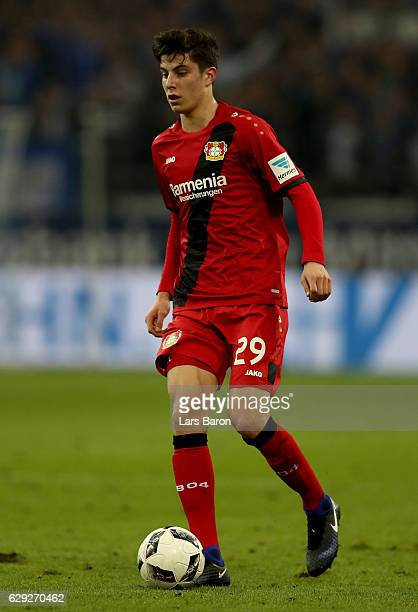 Kai Havertz of Bayer Leverkusen runs with the ball during the Bundesliga match between FC Schalke 04 and Bayer 04 Leverkusen at VeltinsArena on...