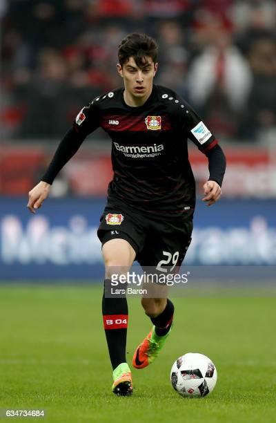 Kai Havertz of Bayer Leverkusen runs with the ball during the Bundesliga match between Bayer 04 Leverkusen and Eintracht Frankfurt at BayArena on...