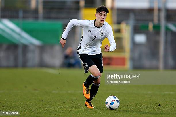 Kai Havertz of Germany runs with the ball during the U17 Euro Qualification match between Germany and Netherlands at Paul Janes Stadium on March 29...