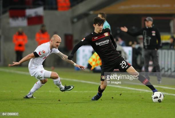 Kai Havertz of Leverkusen battle for the ball during the Bundesliga soccer match between 1 FC Cologne and Bayer Leverkusen at the RheinEnergie...