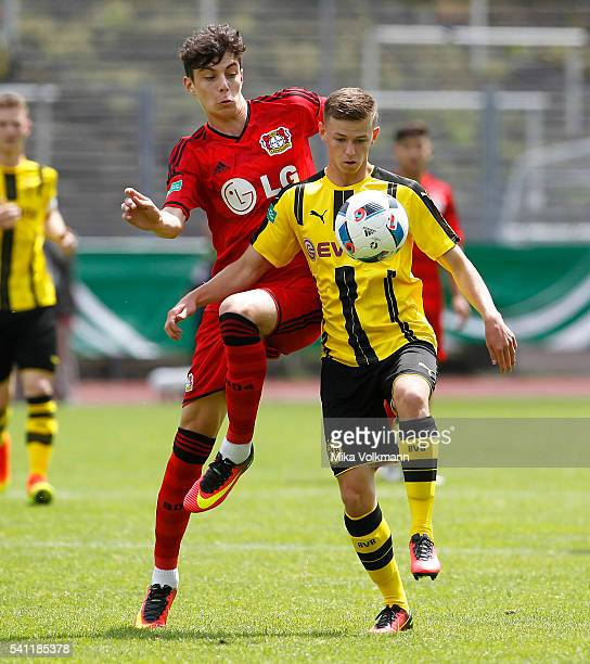 Kai Havertz of Leverkusen challenges Dominik Wanner of Dortmund during the U17 German Championship Final match between Borussia Dortmund U17 and...