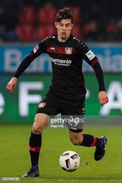 Kai Havertz of Leverkusen controls the ball during the Bundesliga match between Bayer 04 Leverkusen and Hertha BSC at BayArena on January 22 2017 in...