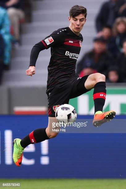 Kai Havertz of Leverkusen controls the ball during the Bundesliga match between Bayer 04 Leverkusen and 1 FSV Mainz 05 at BayArena on February 25...