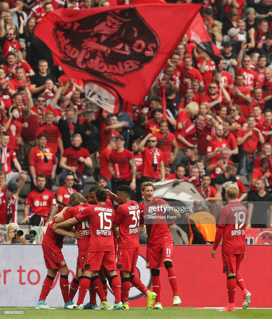 Kai Havertz (L) of Leverkusen jubilates with team mates after scoring the second goal during the Bundesliga match between Hertha BSC and Bayer 04 Leverkusen at Olympiastadion on May 20, 2017 in Berlin, Germany.