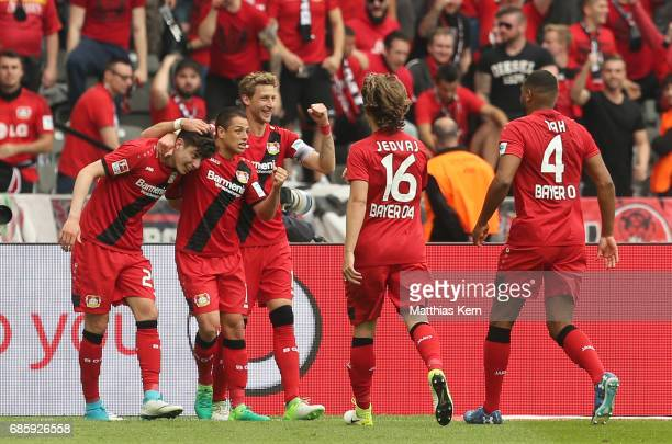 Kai Havertz of Leverkusen jubilates with team mates after scoring the second goal during the Bundesliga match between Hertha BSC and Bayer 04...
