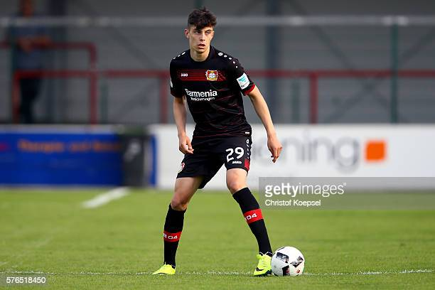 Kai Havertz of Leverkusen runs with the ball during the friendly match between SC Verl and Bayer Leverkusen at Sportclub Arena on July 15 2016 in...