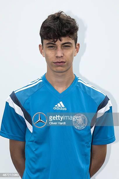 Kai Havertz poses during the Germany U17 team presentation on September 7 2015 in Bremen Germany