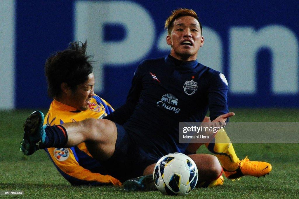 Kai Hirano #19 of Buriram United in action during the AFC Champions League Group E match between Vegalta Sendai and Buriram United at Sendai Stadium on February 26, 2013 in Sendai, Japan.