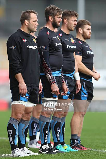 Kai Horstmann Geoff Parling Ollie Devoto and Luke CowanDickie during the Exeter Chiefs training session at Sandy Park on October 13 2016 in Exeter...