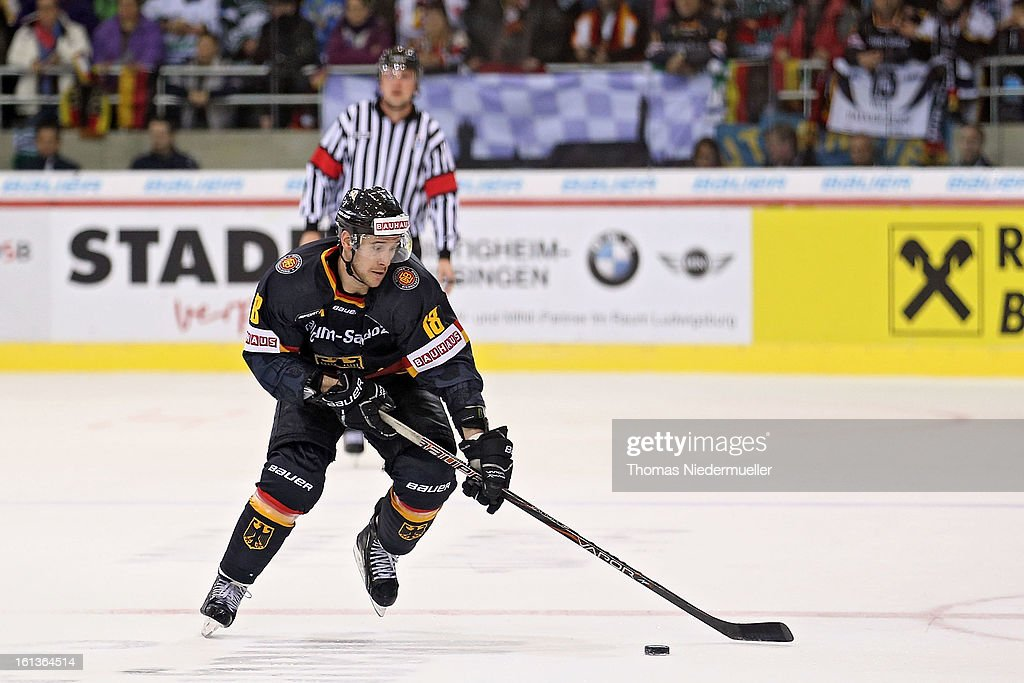 Kai Hospel of Germany in action during the Olympic Icehockey Qualifier match between Germany and Austria on February 10, 2013 in Bietigheim-Bissingen, Germany.